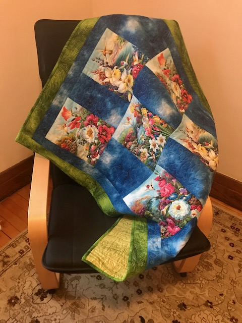 hummingbird quilt on chair, by Marijke Vroomen Durning, MyCreativeQuilts.com