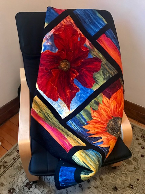 Mosaic windows sunflower, chair by Marijke Vroomen Durning, MyCreativeQuilts.com