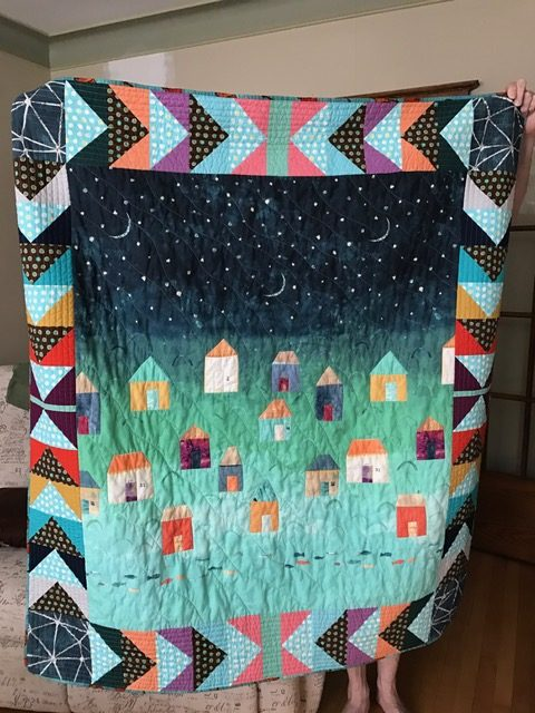 rita's quilt, with a panel - from panels of cute houses