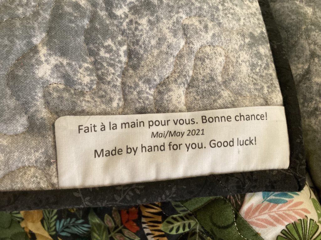Donation quilt label